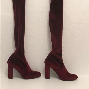 Over the knee velvet boot